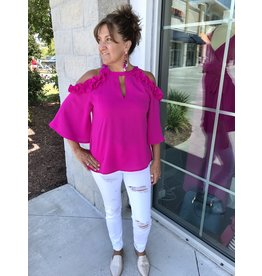 TCEC Cold Shoulder Top - Magenta