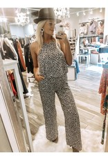 Animal Print Jumpsuit - Olive