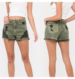 High Rise Denim Shorts - Olive