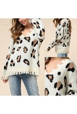 Animal Print  Distressed Sweater - Taupe