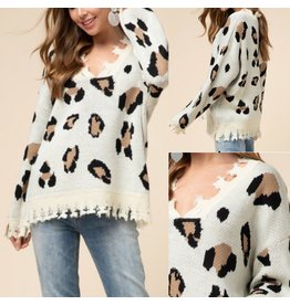 Animal Print  Distressed Sweater - Taupe