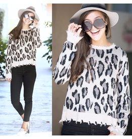 FATE Distressed Animal Print Sweater - Taupe