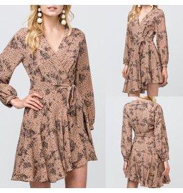 Floral Wrap Dress - Latte