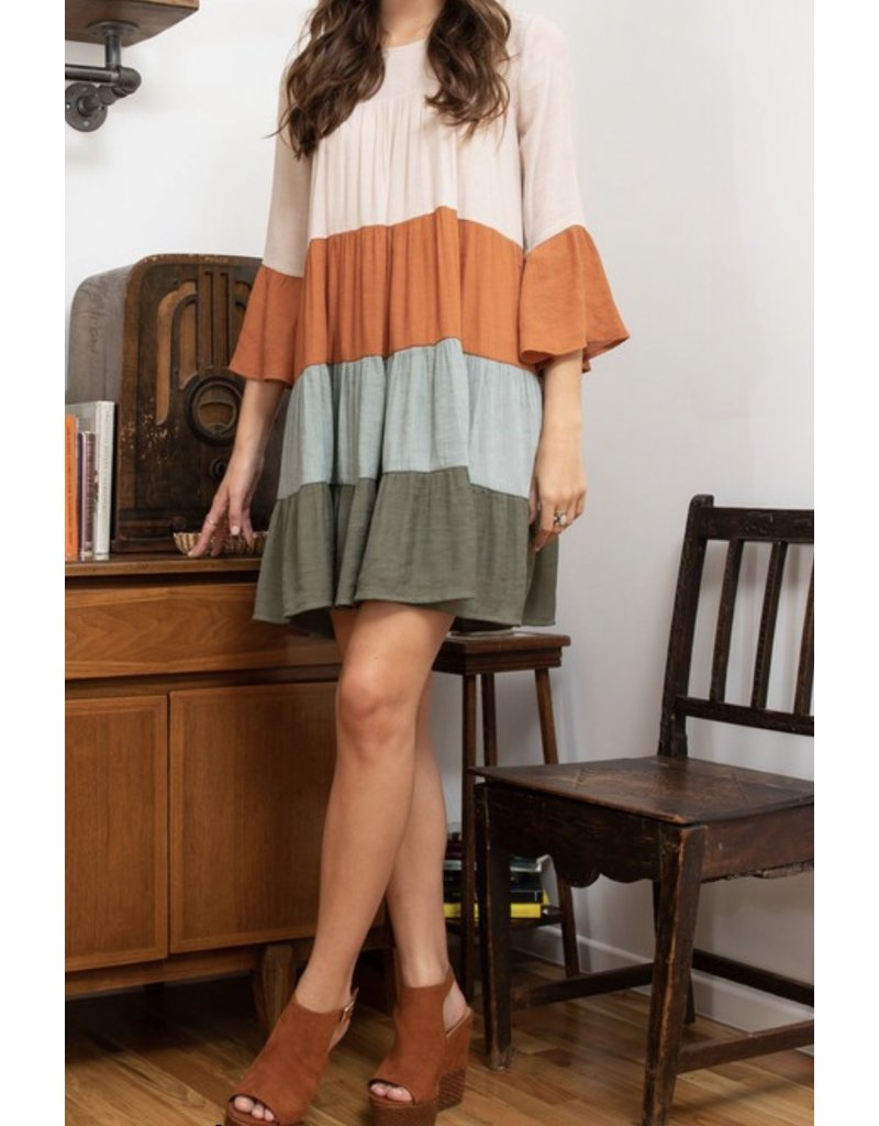 Color Block Dress - Natural