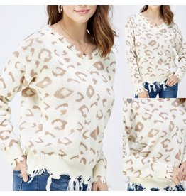 Distressed Animal Print Sweater - Off White