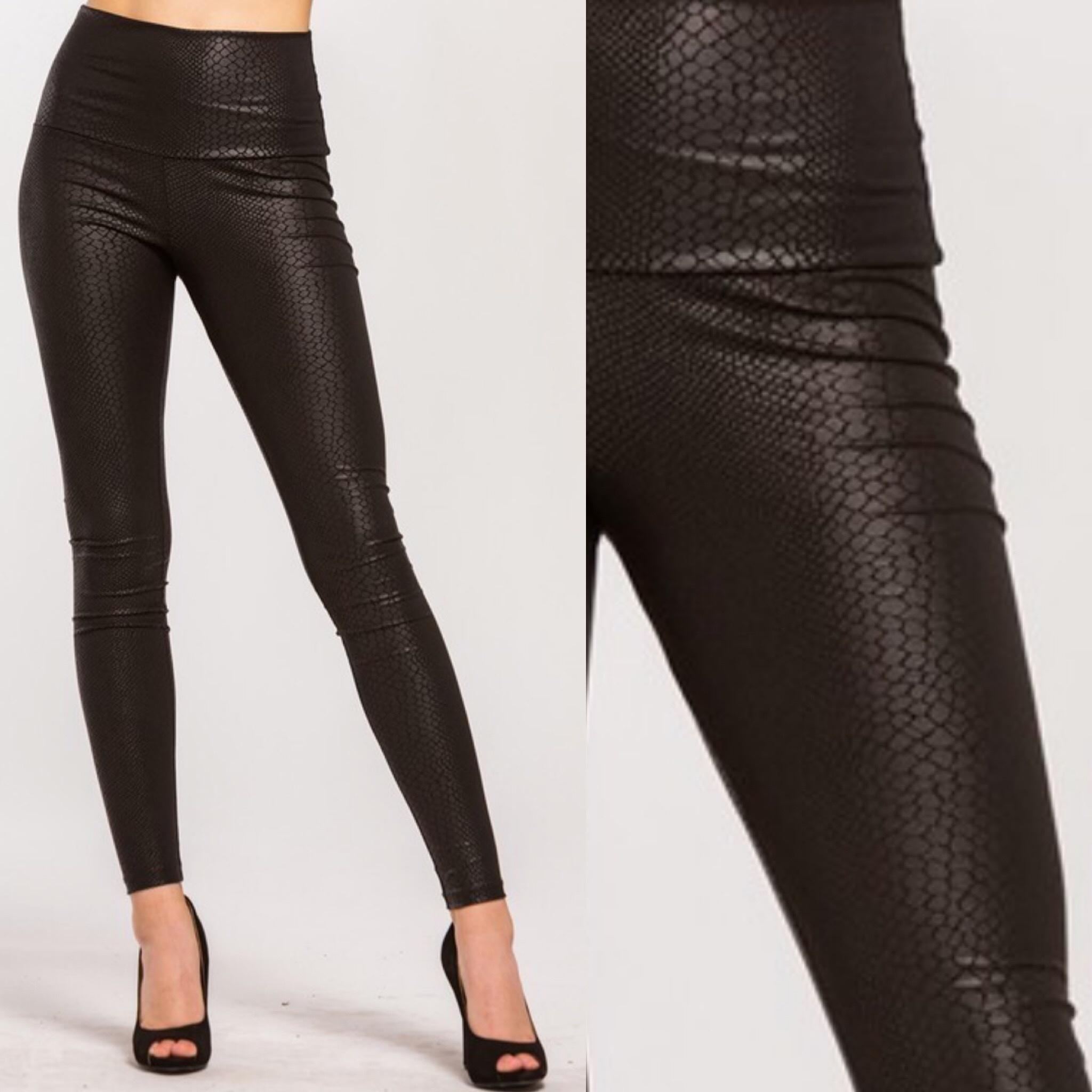 Snake Skin Pleather Leggings - Black