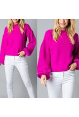 MERCI Bubble Sleeves Sweater - Fuchsia