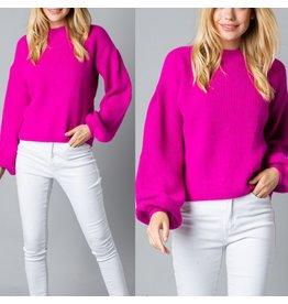 MERCI Bubble Sleeves Sweater - Fuchsia