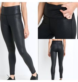 MonoB Faux Leather Leggings - Black
