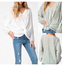 T13595 Twisted Front Button Down Top