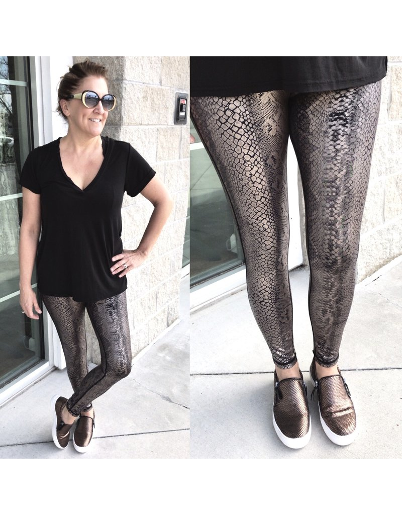 MonoB Shimmer Snake Skin Leggings - Copper