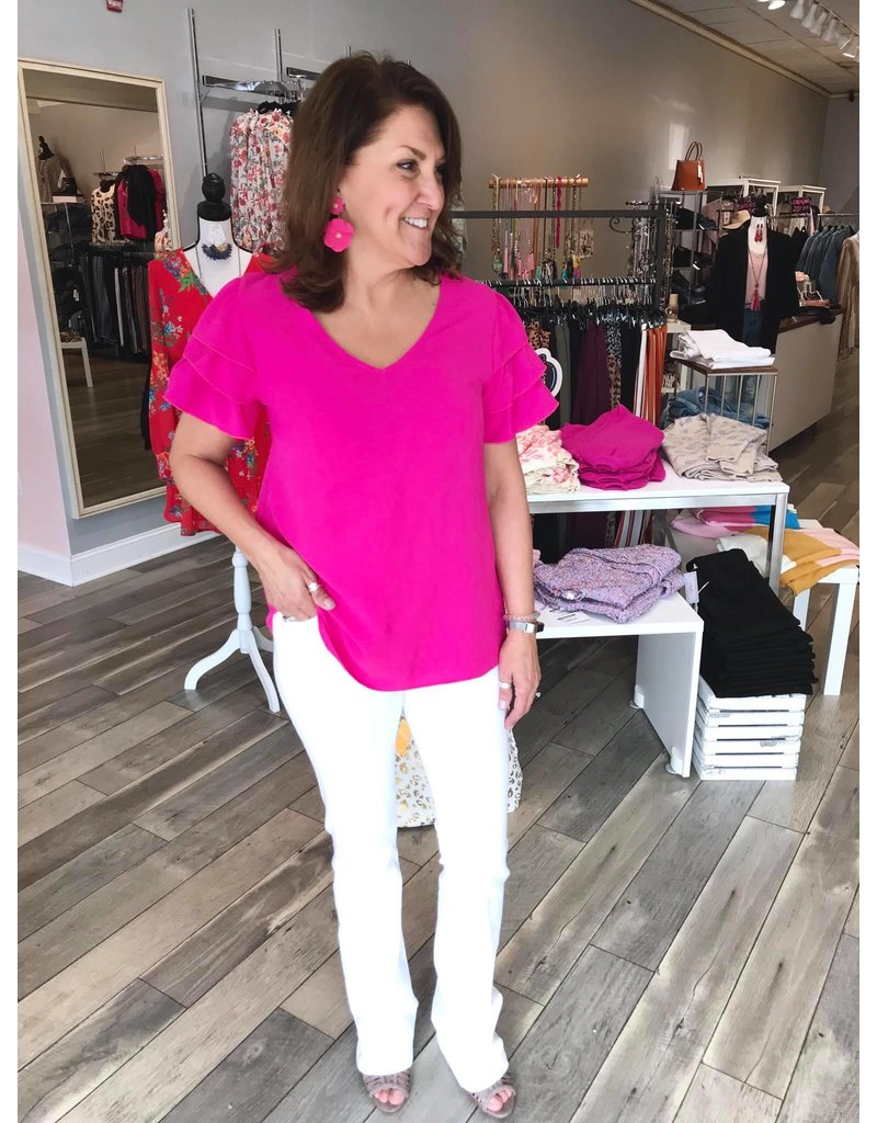 Double Ruffle Sleeves Top - Hot Pink