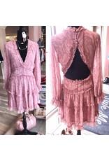 Open Back Floral Dress - Blush