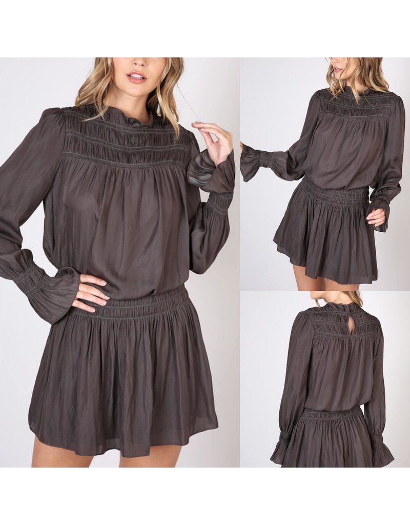 Shirring Dress - Charcoal