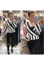 Striped Peplum Knit Top - Black