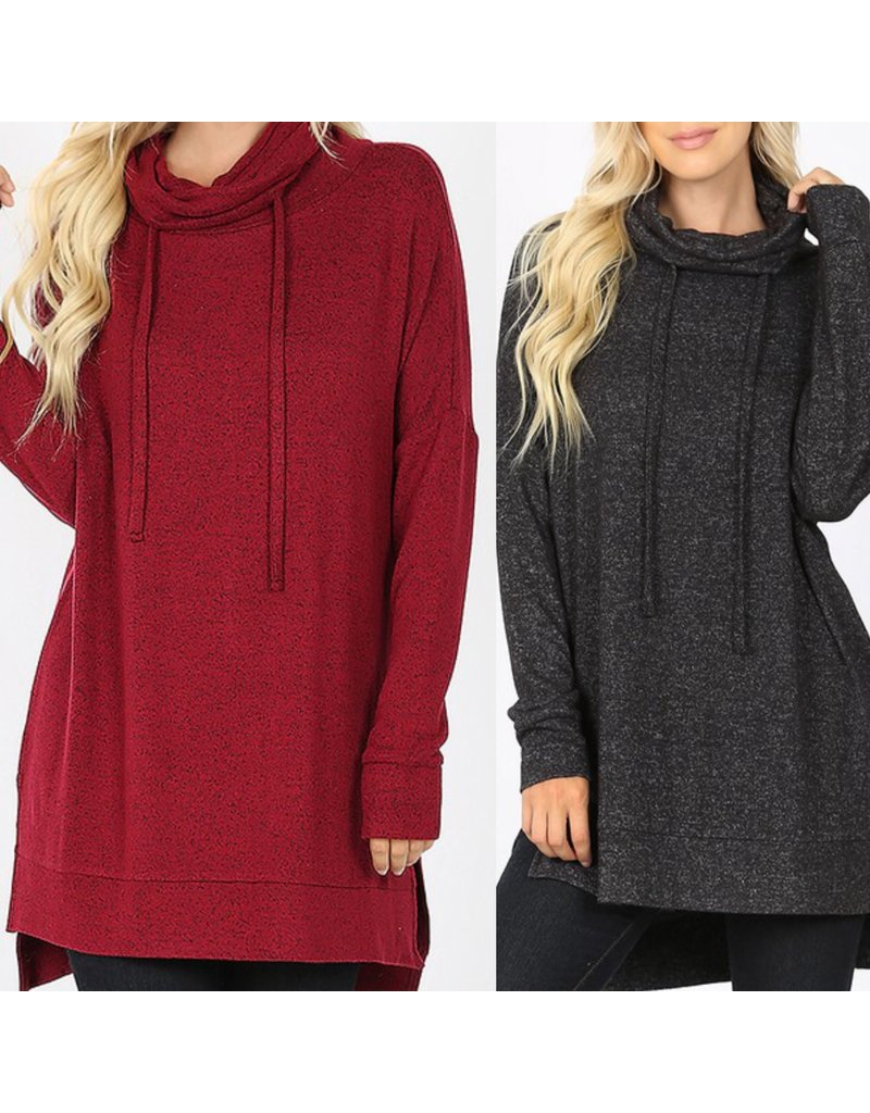 Zenana Cowl Neck Knit Tunic