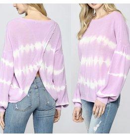 FATE Open Back Tie Dye Sweater - Lavender
