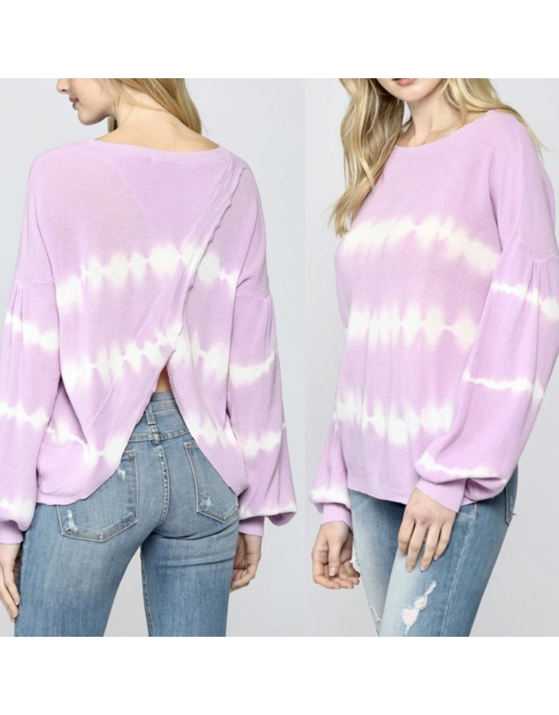 Open Back Tie Dye Sweater - Lavender