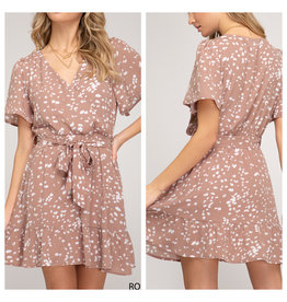 Ruffle Detail Spotted Dress - Rose Mocha