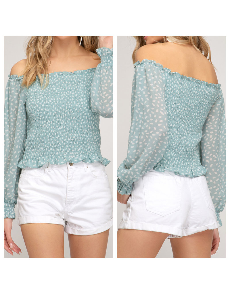 Off Shoulders Smocked Top - Seafoam