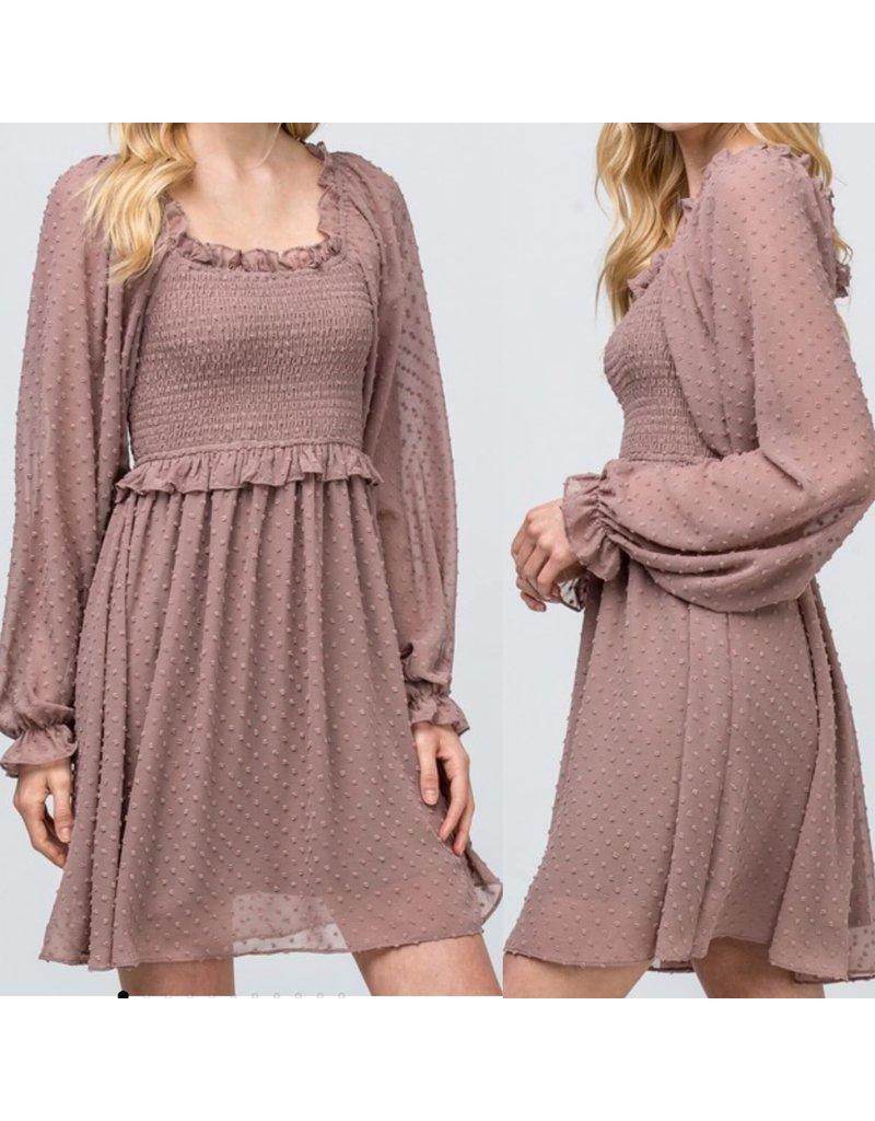 Smocked Off Shoulders Dress - Latte