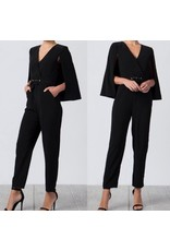 Cape Jacket Jumpsuit - Black
