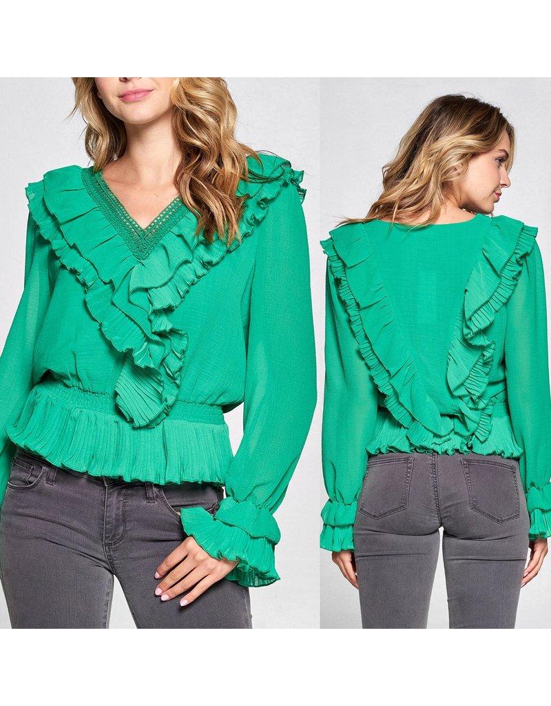 Ruffle Detail Top - Emerald