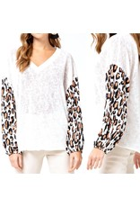 Animal Print Sleeves Knit Top - Ivory