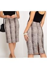 Snake Skin Midi Skirt - Grey