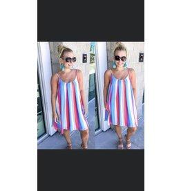Striped Flowy Dress - Coral