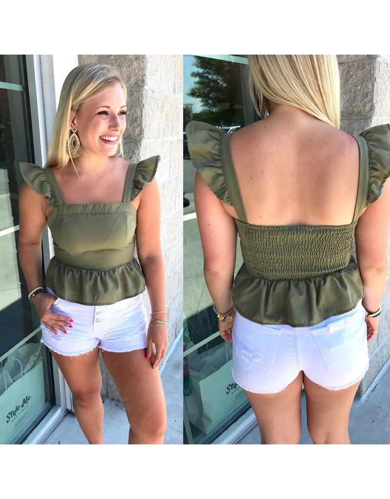 Cropped Peplum Top - Olive