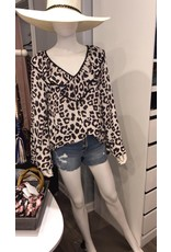 Ruffle Detail Animal Print Top - Ivory