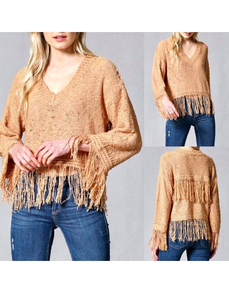 Fringe Hem Sweater - Rust