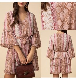 Animal Print Dress - Burgundy