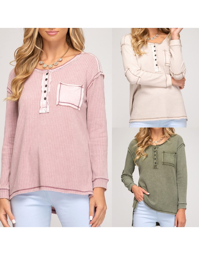 Button Down Thermal Top