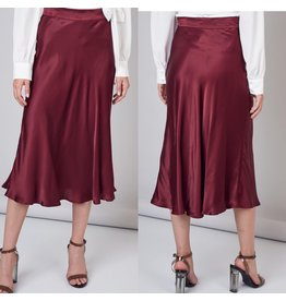 Satin Skirt - Wine