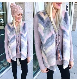 Skies Are Blue Faux Fur Vest - Grey/Pink
