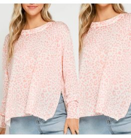Side Zippers Leopard Sweater - Pink