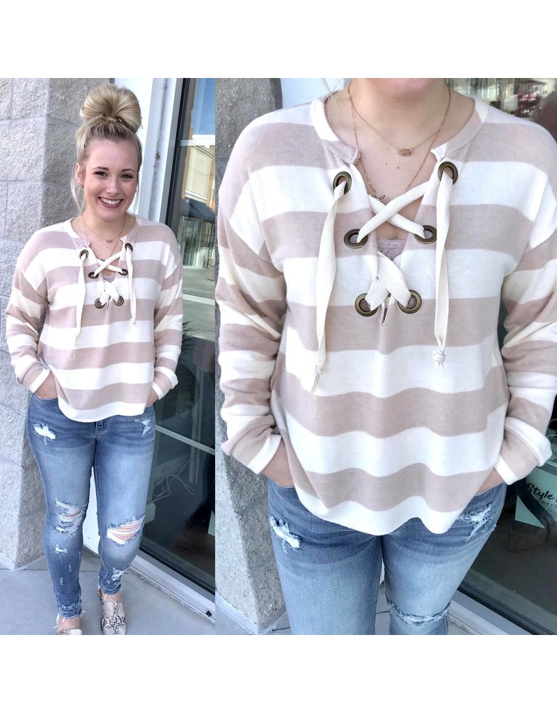 Chunky Striped Lace Up Top - Taupe