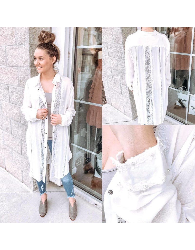 Lace Detail Button Down Tunic - Ivory