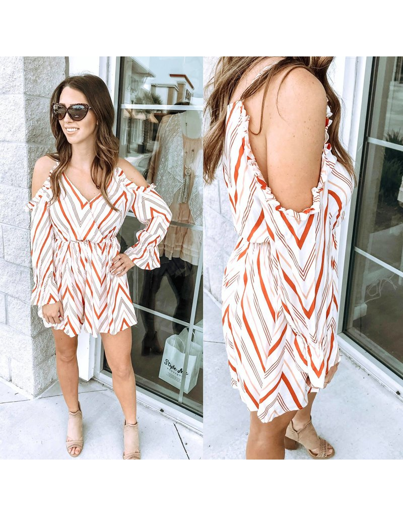 Open Shoulder Romper - Rust