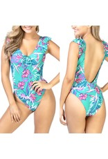 Ruffle Floral Swimsuit - Green