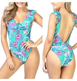 Beach Joy Ruffle Floral Swimsuit - Green