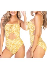Beach Joy Floral Swimsuit - Yellow