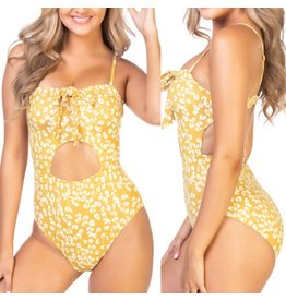 Beach Joy Floral Swimsuit - Yellow