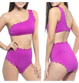 Beach Joy Scalloped 2pc Bikini Set - Magenta