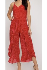Ruffle Detail Cropped Jumpsuit