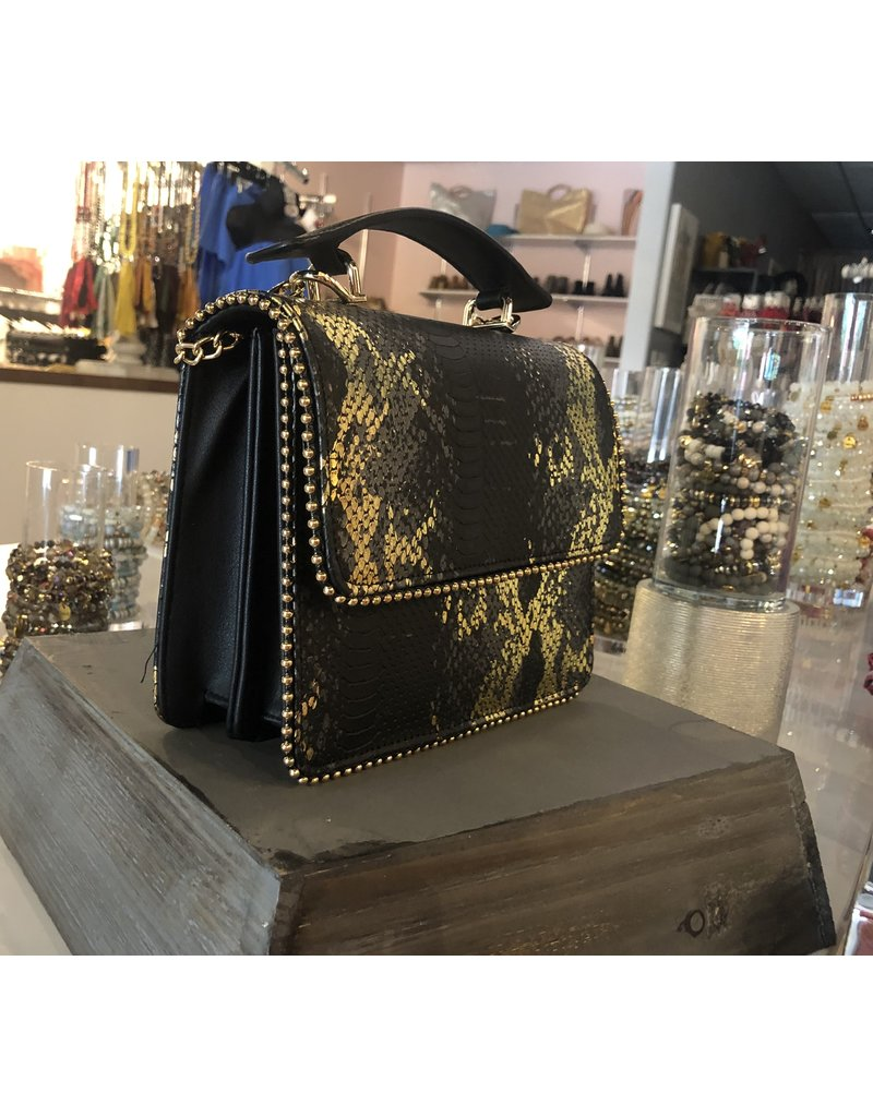 Snake Skin Crossbody Bag - Black/Gold