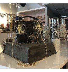 Snake Skin Crossbody Bag - Black/Gold