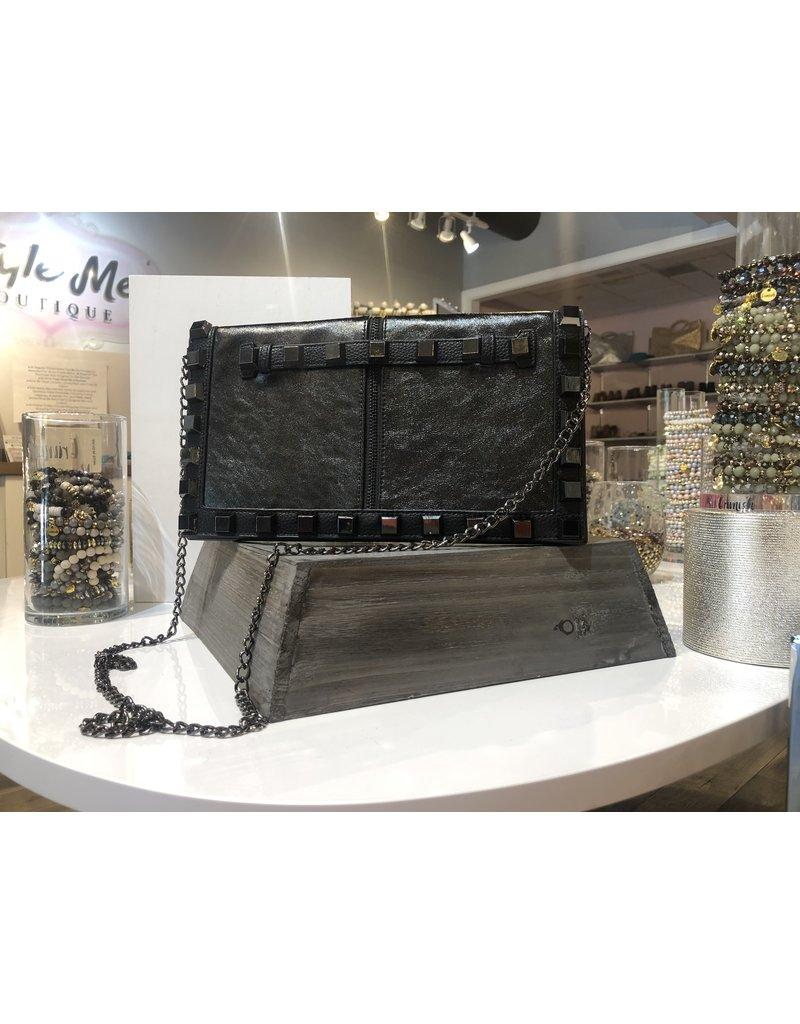Studded Clutch/Crossbody Bag - Black